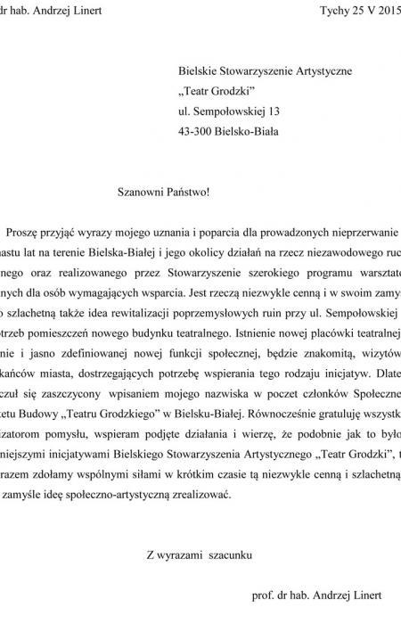 Andrzej Linert - list